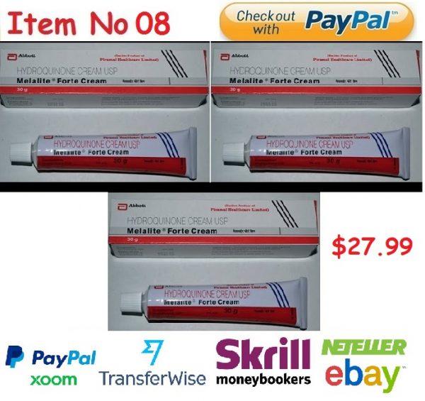 Melalite Forte Cream 4% (Hydroquinone Cream) 3 X 30 = 90g Skin Brightening Cream Anti Melesma