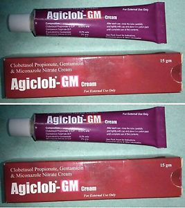 Agiclob GM 60g Tripple action SKIN CREAM CLOBETASOL, GENTAMYCIN, MICONAZOLE INFLAMMATION DERMATITIS ECZEMA PSORIASIS GSK